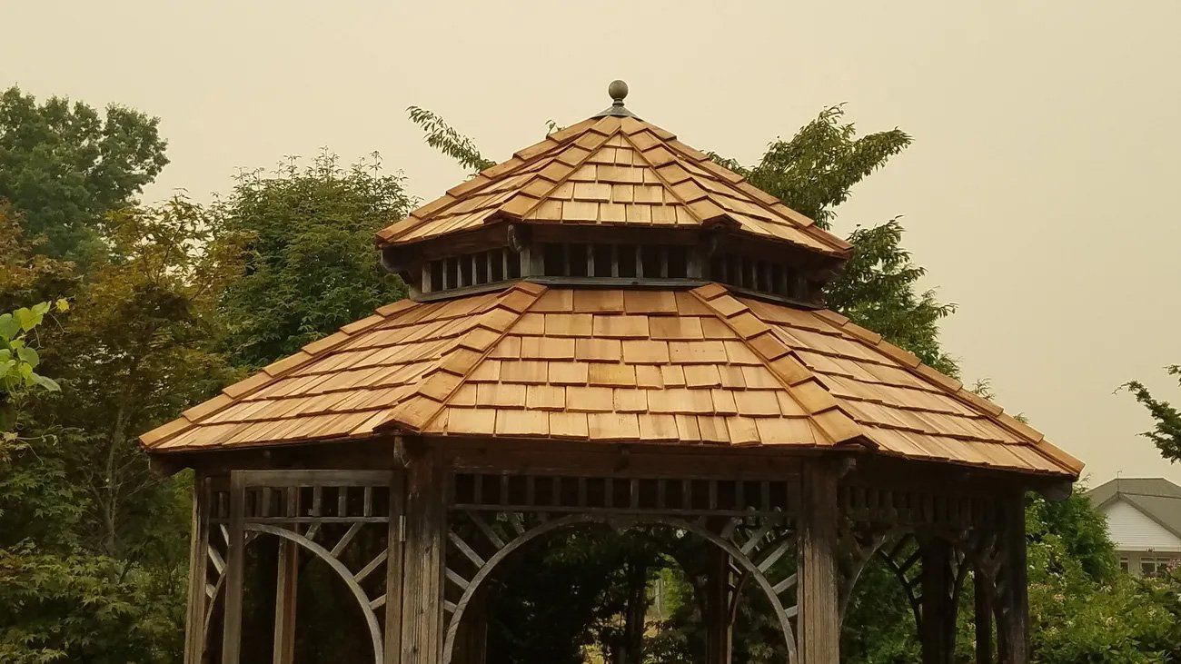 Cedar Shake Roof Installation in Auburn, WA on a Gazebo
