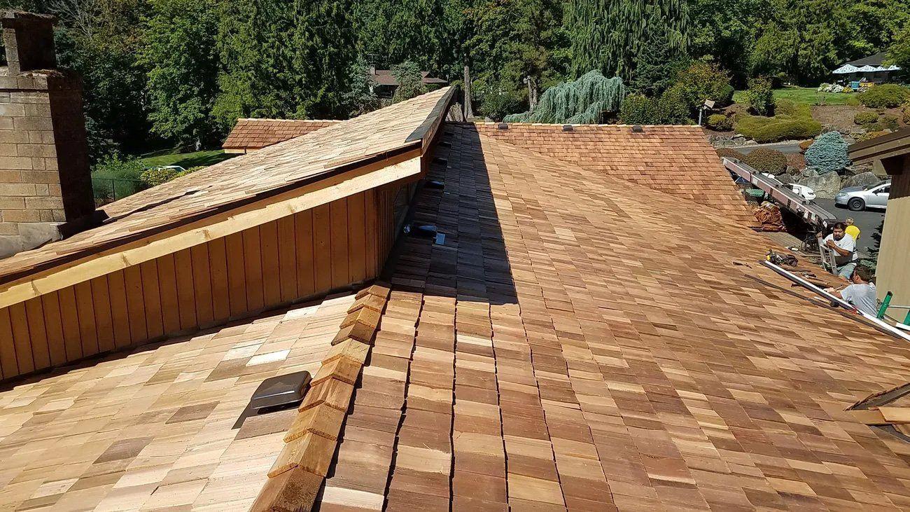 Roofers Installing Cedar Shake Roof in Auburn, WA
